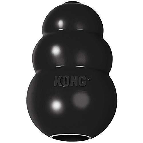 Kong – Giocattolo per cani, extra resistente, in gomma naturale nera – masticare, caccia, recepimento