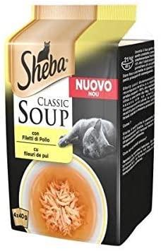 Sheba Classic Soup Multipack per Gatto da 4x40gr, Filetti di Pollo