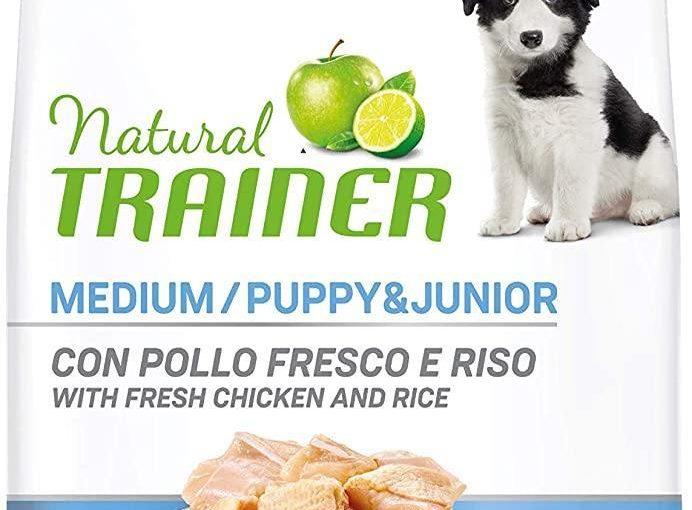 Natural Trainer – Cibo Secco per Cani Puppy & Junior Medium, Con Pollo Fresco, 12 kg