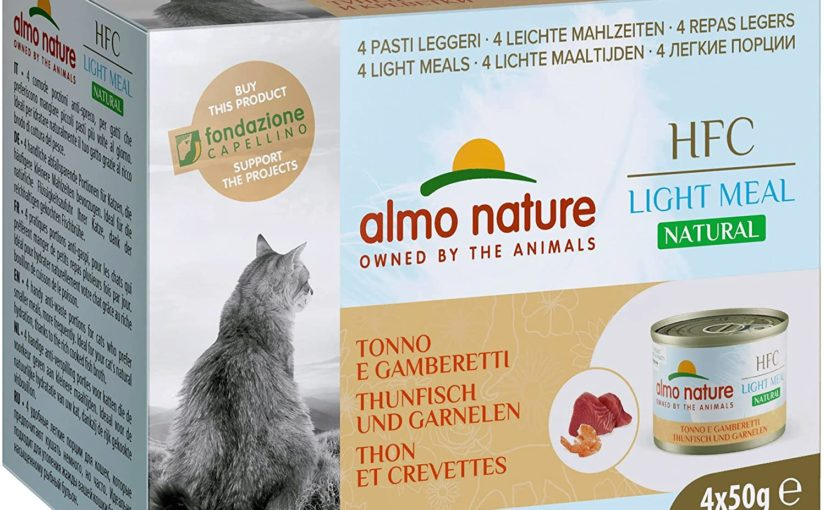Almo Nature Made in Italy per Gatto – Mega Pack HFC Natural Light Meal con Tonno e Gamberetti, 4 x 50 g