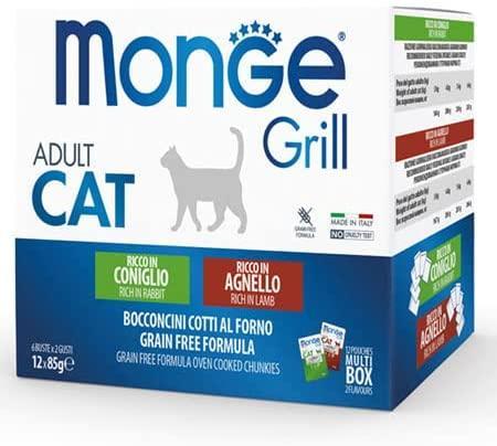 Multipack Monge Grill 12 Buste Da 85g Gusti Misti Agnello Coniglio Grain Free Bocconcini Per Gatti