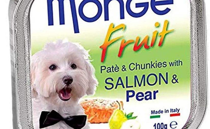 MONGE FRUIT DOG PATÉ E BOCCONCINI CON SALMONE E PERA 100 G.